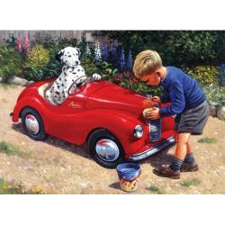 Obrázek Malování podle čísel- Dalmatin v červeném autě