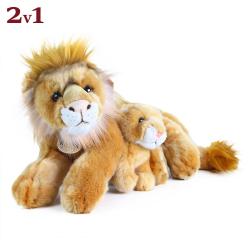 Obrázek Plyšový lev ležící s mládětem 40 cm