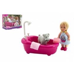 Obrázek Panenka kloubová Kiki Anlily plast 12cm s mazlíčkem s vanou v koupelně v krabičce 22x16x9cm