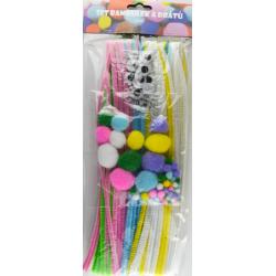Obrázek Velikonoční sada bambulí, drátů a očí - pastelové barvy