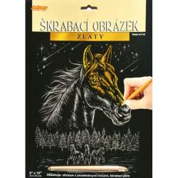 Obrázek Škrabacie obrázok zlatý - Kôň - SCC-EP200 * kôň