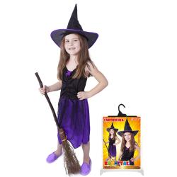 Obrázek karnevalový kostým čarodějnice/halloween s kloboukem, vel. M