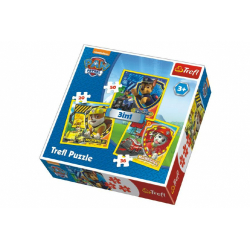 Obrázek Puzzle 3v1 Marshall, Rubble a Chase Paw Patrol 20x19,5cm