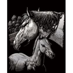 Obrázek Škrabací obrázek stříbrný - Klisna s hříbětem