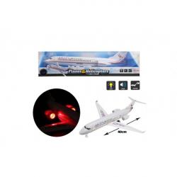 Obrázek Letadlo plast 43cm na setrvačník na baterie se zvukem a světlem v blistru