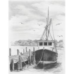Obrázek Malování SKICOVACÍMI TUŽKAMI-rybářská loď