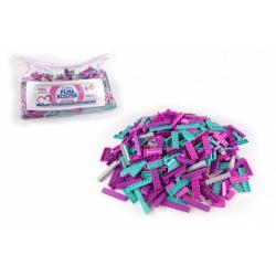 Obrázek Stavebnice Cheva Taška Plná Kostek plast Růžová sada 2 kg v plastové tašce
