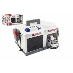 Obrázek Garáž + auto ambulance 15 cm plast na baterie se světlem se  zvukem v krabici 37x20x24,5cm