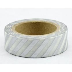 Obrázek Dekorační lepicí páska - WASHI pásky-1ks pruhy stříbrná