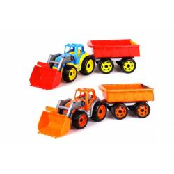 Obrázek Traktor/nakladač/bagr s vlekem se lžící plast na volný chod 2 barvy v síťce 16x61x16cm