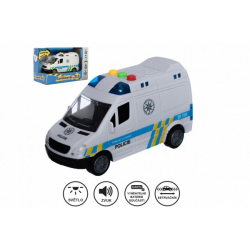 Obrázek Auto policie dodávka plast 15cm na setrvačník na baterie se zvukem se světlem v krabici 19x13x9cm