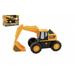 Obrázek Stavební stroj bagr/nakladač 20cm na setrvačník na baterie se světlem a zvukem v krabičce 21x14x11cm