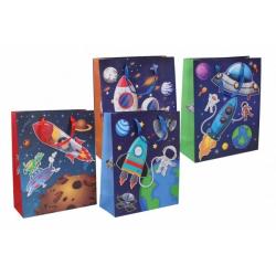 Obrázek Dárková taška dětská vesmír mix barev 26x32x10,5cm