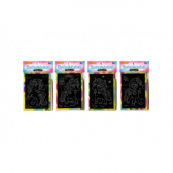 Obrázek Škrabací mini obrázek duhový jednorožec 8,5x12cm 4 druhy v sáčku 36ks v boxu