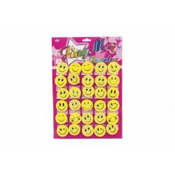 Obrázek Odznak smajlík velký 4,5cm žlutý kov/plast 30ks na kartě v sáčku