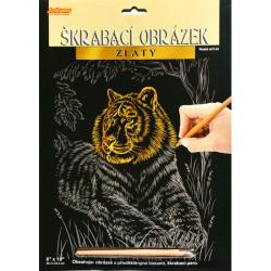 Obrázek Škrabací obrázek zlatý - Tygr