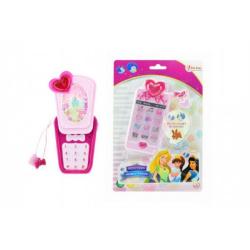 Obrázek Telefon Mobil s princeznami plast 14cm na baterie se světlem se zvukem na kartě