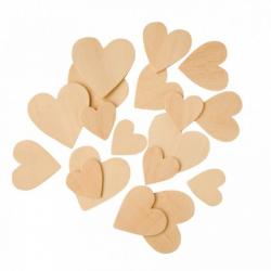 Obrázek Dřevěné srdce 100ks- mix velikostí