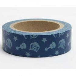 Obrázek Dekorační lepicí páska - WASHI pásky-1ks hudební nástroje v modré