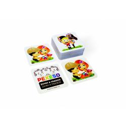Obrázek Pexeso zvyky a tradície vodeodolné 64 kariet v plechovej krabičke 6x6x4cm Hmaťák