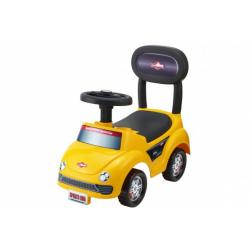 Obrázek Odrážedlo auto plast žluté výška sedadla 20cm v krabici 48x23,5x22,5cm 12-35m