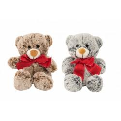 Obrázek Medvěd sedící s mašlí plyš 18cm 2 barvy 0+