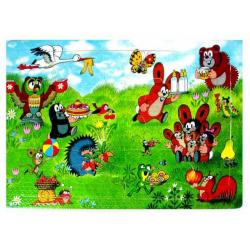 Obrázek Puzzle krtek- 12 dílků - veselé narozeniny