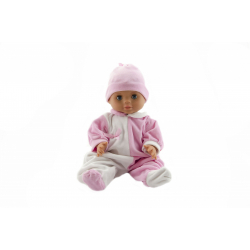 Obrázek Panenka/Miminko Hamiro 40cm, pevné tělo overal bílorůžový + čepice růžová