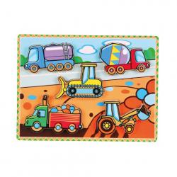 Obrázek Drevená vkladačka extra silná - stavebné autá