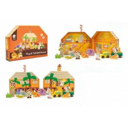 Obrázek Safari/ZOO figurky dřevo + domeček 16ks ve fólii 27x20x5cm 24m+