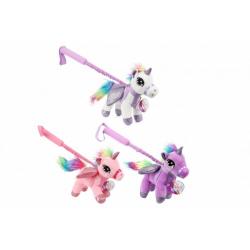 Obrázek Jednorožec/Kůň s nastavitelnou tyčkou plyš 20x20cm 3 barvy 18m+