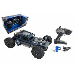Obrázek Auto RC buggy vypouštějící páru plast 38cm modré 2,4GHz na bat. + dobíjecí pack v krabici 55x26x30cm