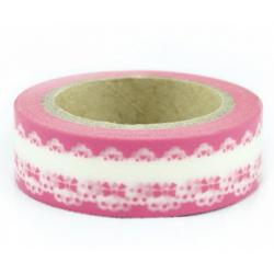 Obrázek Dekoračné lepiaca páska - wash pásky-1ks bordúra v ružovej