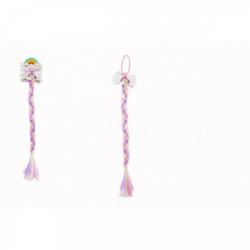 Obrázek Gumička do vlasů s mašlí s dlouhým barevným copem s flitry 8x40cm v sáčku