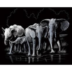 Obrázek Vyškrabovací obrázek- Sloni - SILF*40