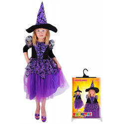Obrázek karnevalový kostým čarodějnice fialová s rukávy, vel. M