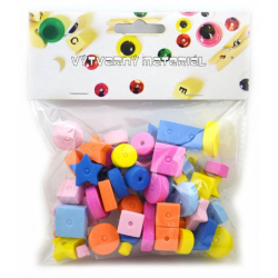 Obrázek Korálky pěnové - mix tvarů a barev - 66 ks