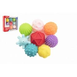 Obrázek Sada míčků 9ks s texturou gumové 6-7cm v krabici 29x26x7cm 6m+