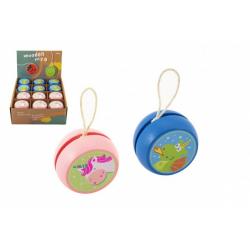 Obrázek Jojo dřevěné 6cm jednorožec/drak v sáčku 24ks v boxu