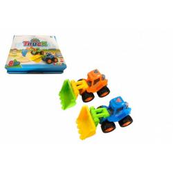 Obrázek Auto stavební/bagr 14cm plast na setrvačník 2 barvy 8ks v boxu