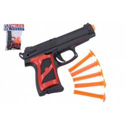 Obrázek Pistole + přísavky 5ks plast 16cm v sáčku