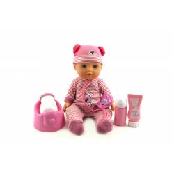 Obrázek Panenka miminko Agusia plast 27cm pijící čůrající s doplňky - 2 barvy