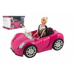 Obrázek Panenka kloubová 30cm plast s autem na volný chod v krabici 32x20x20cm