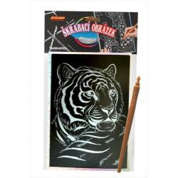 Obrázek Škrabací obrázek- Holografický 20x15 cm- tygr