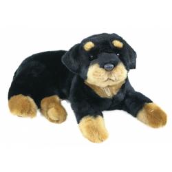 Obrázek plyšový pes Rottweiler, ležící, 38 cm