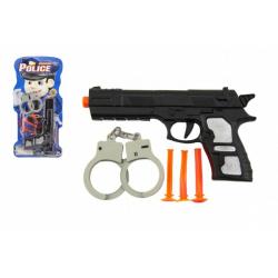 Obrázek Pistole plast 21cm s přísavkami 3ks s pouty na kartě