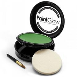 Obrázek Barva na obličej PAINT GLOW zelená v pudřence se zrcátkem, houbičkou a štětcem