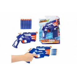 Obrázek Pistole na pěnové náboje 25cm plast + náboje 6ks na kartě