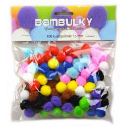 Obrázek Bambuľky - mix farieb, 100 ks - veľkosť 15 mm
