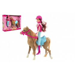 Obrázek Kůň + panenka žokejka plast 23cm v krabici 35x26x8cm